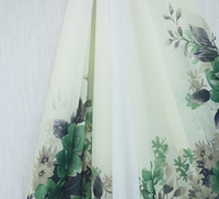 Elegant Green Flower Printed Chiffon Houseleek Pattern Graduated Color Georgette Fabric For Lining Sewing Accessories Ss