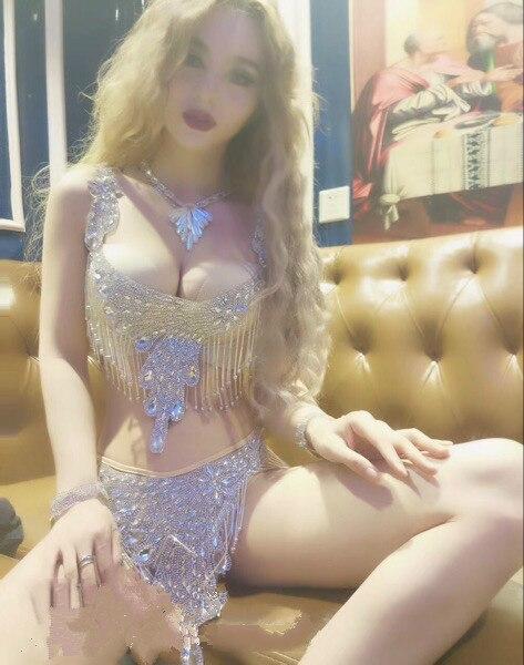 Argent Sexy Femmes Vêtements Bikinis Soutien Outfit Photo Court gorge Strass Partie Color Scène Baalmar De Dj Discothèque Costumes Brillant Danse Bikini afWPvq0