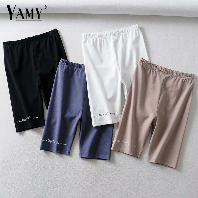 Summer Ladies Biker Shorts Women Black White High Waist Shorts Cotton Vintage Letters Print Short Mujer Casual Sweatpants