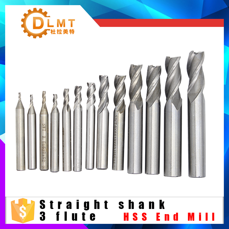 2pcs 10mm HSS CNC Straight Shank 4 Flute End Mill Cutter Drill Bit 10mm Shank