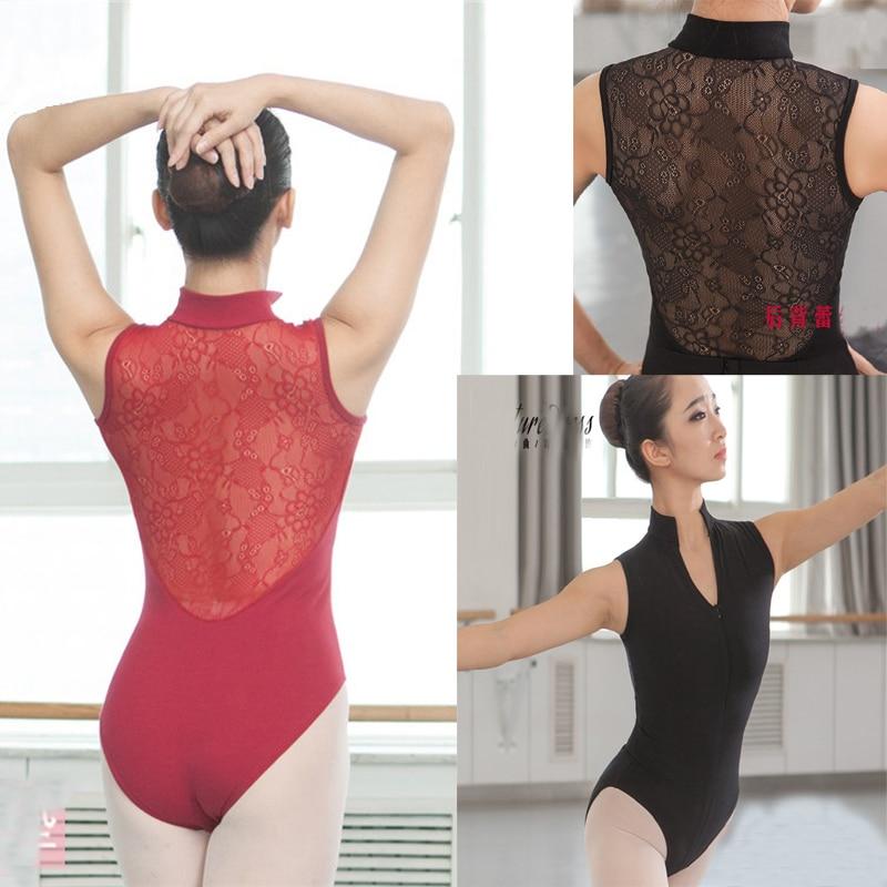 Ballet Dance Leotards For Women Spandex Scoop Neckline Black Ballet Gymnastics Bodysuit Team Basic Dancewear