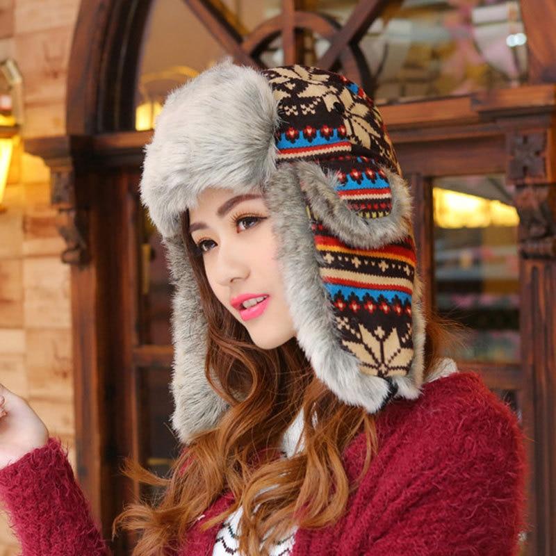Self-Conscious Woman Russian Women Winter Hats Keep Warm Knitting Hat Fur Earmuff Thick Snow Cap Outdoor Ski Cap Women's Bomber Hats Consumers First