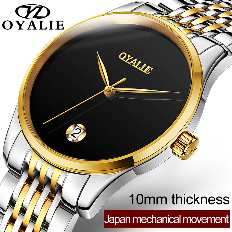 OYALIE Top Brand Luxury Watches Men Business Clock Steel Strap Automatic Mechanical Wristwatch For Man Boy Bracelet Watch G9782 oyalie big face automatic watches male luxury gold dial men mechanical wristwatches top brand leather strap man s clocks watch
