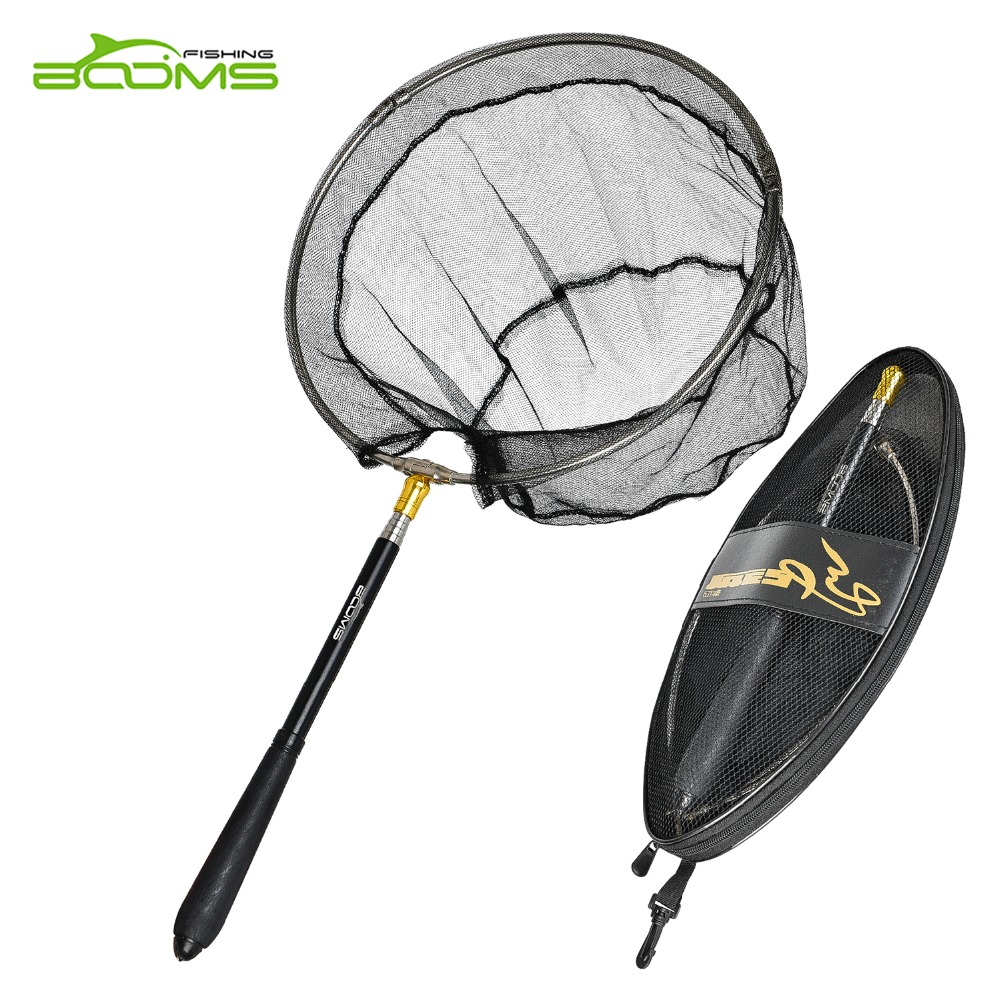 Booms Fishing N3 Compact Portable Retractable Telescoping Folded Fly Fishing Landing Net Nylon Mesh 71-193cm Fishing Tackle