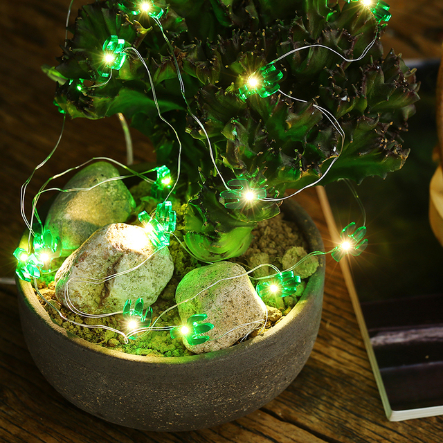 300cm 30 lights green cactus led string lights copper wire decorative lamp for xmas party ktv