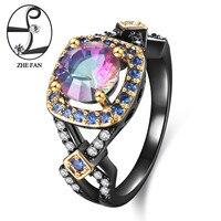 ZHE FAN Synthetic Rainbow Quartz Rings Women Vintage Black Gold Color Plating Blue White Micro Zirconia