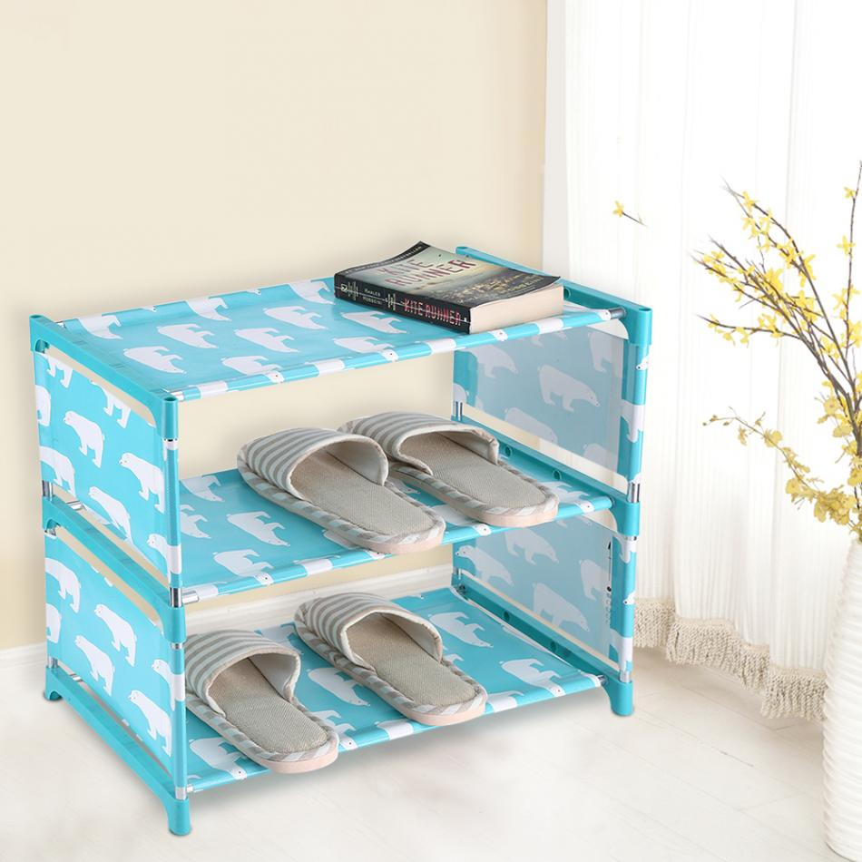 3 Tiers Non Woven Fabric Standing Shoe Rack DIY Shoes Shelf Cute Storage  Shelf Home Organizer Wall Standing Cute Shoes Shelf In Shoe Cabinets From  Furniture ...