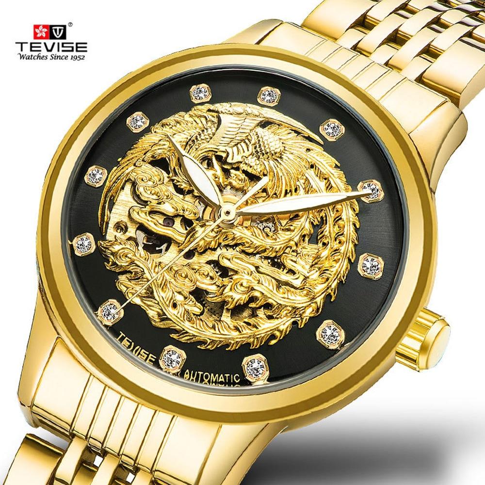 Relogio Feminino Women Watches Skeleton Phoenix Automatic Mechanical Watch Ladies Wristwatches TEVISE Luxury Rhinestone Watch