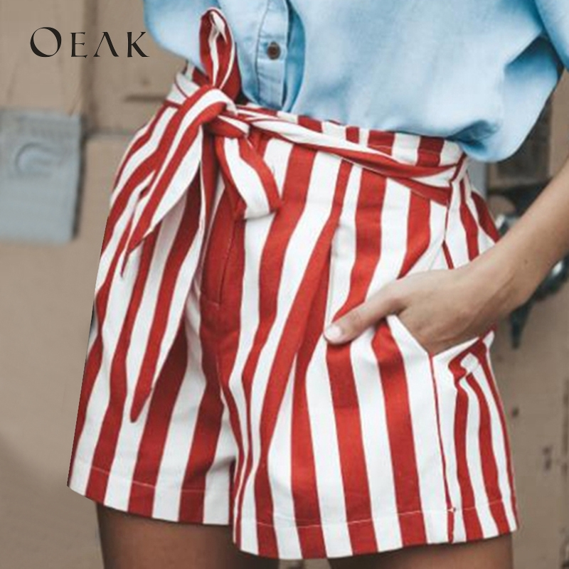OEAK Women Casual   Shorts   with Sashes Summer Patchwork Striped   Shorts   Female High Waist   Shorts   Girl Hot Straight spodenki damskie