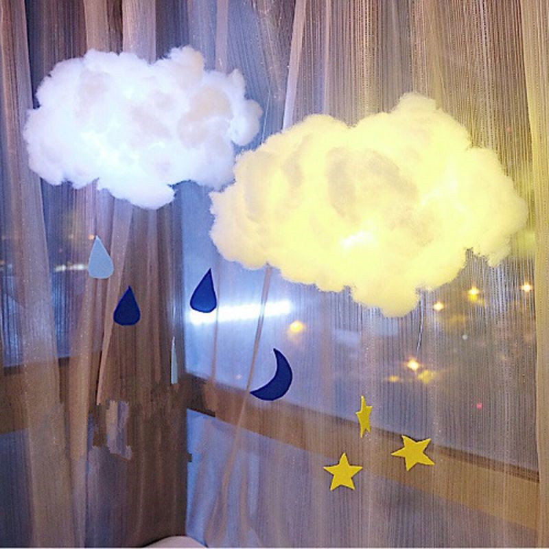 LED DIY Cotton Cloud Night Light Hanging Handmade Night Lamp Decor Gifts For Kids Children Parent-child Interaction DIY Material