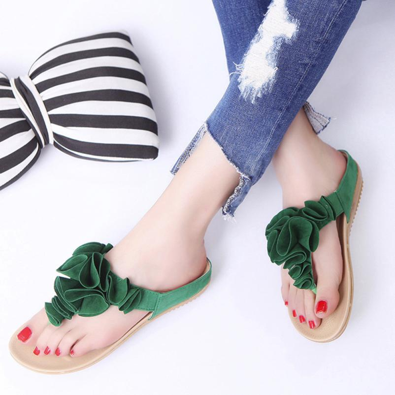 New Arrive Women's Slippers Size 36-40 Summer Beach Flip Flops Casual Flat Ankle Open Toe Shoes Lady Pretty Floral Sandals Girls