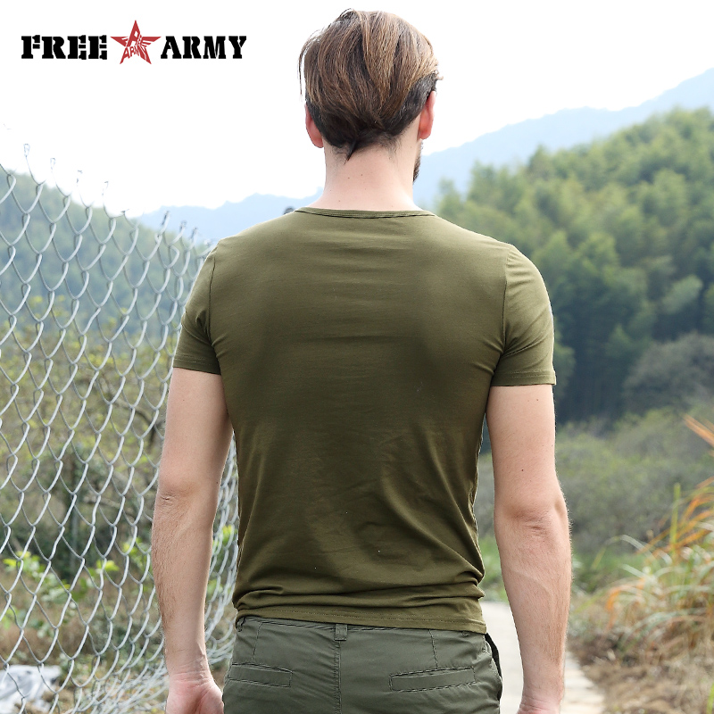 2018 poletne moške modne majice zelene barve bombažne blagovne - Moška oblačila - Fotografija 2