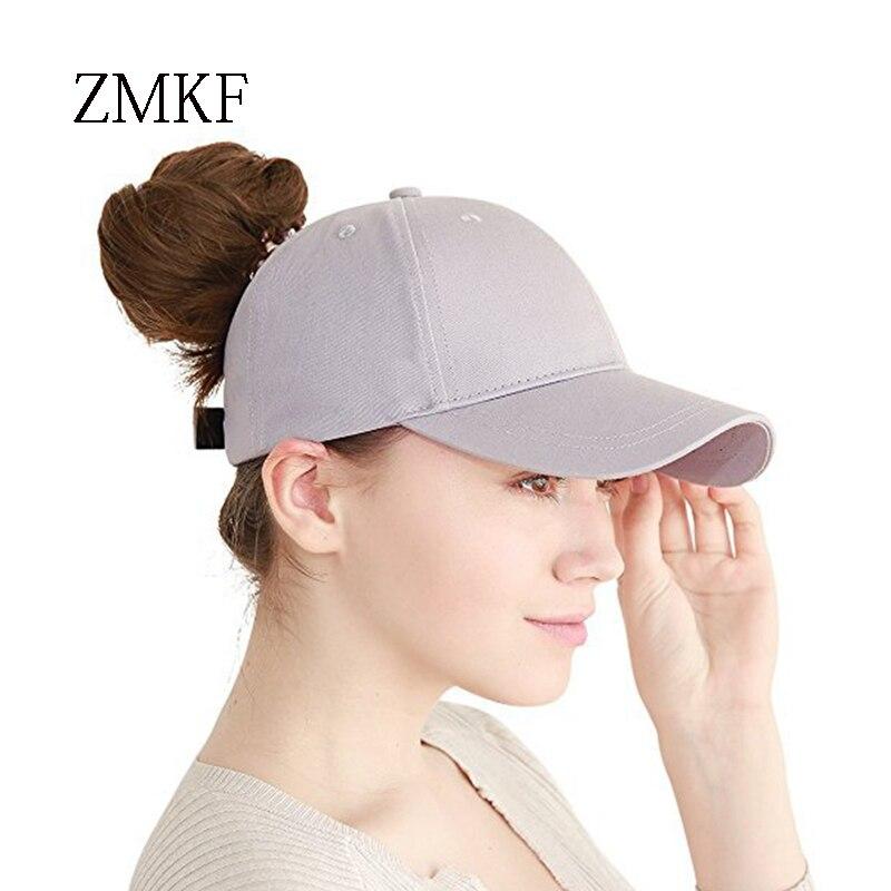 2018 ZMKF nieuwe vrouwen effen kleur paardenstaart baseball cap zomer - Kledingaccessoires - Foto 1