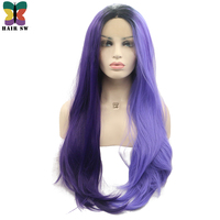 HAIR SW Long Silky Straight Synthetic Lace Front Wig Half Dark Purple Half Light Purple Two tone Ombre Cosplay Wig For Halloween