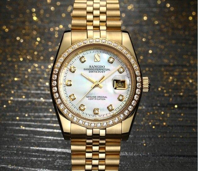 37 мм SANGDO Самовзводные движение высокое качество роскошные мужские часы покрытие 18KY механические часы sa4a