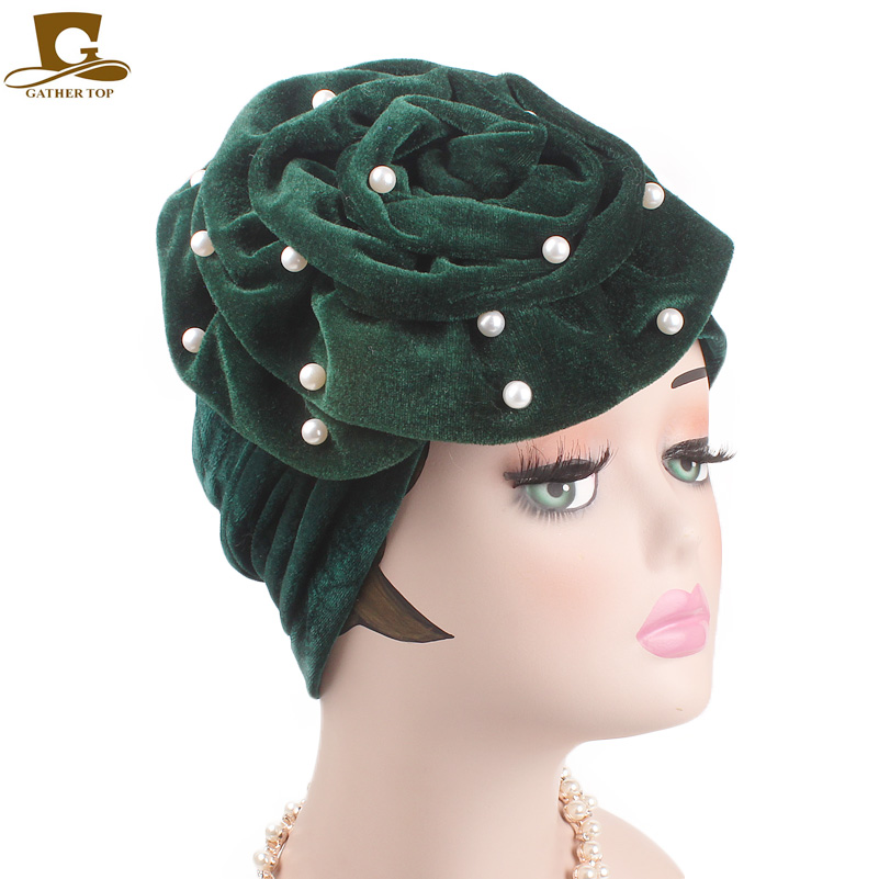 ac35749a978 New beaded king flower velvet turban women headbands Bonnet Chemo Cap  Muslim Scarf Hijab Islamic Turbante hair accessories-in Women s Hair  Accessories from ...
