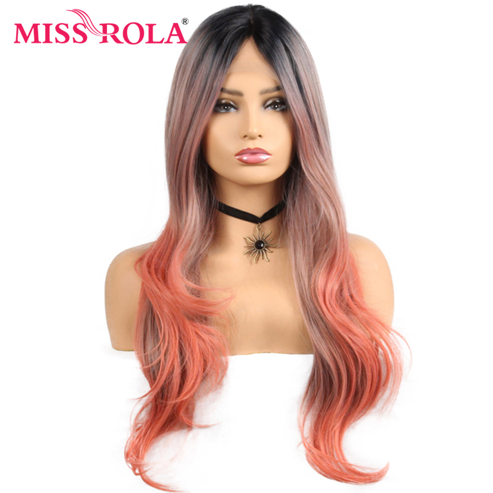 Miss Rola Long Hair Synthetic Wig Lace Front Wig Ombre Color Wavy Hair Wig For Black Women 28 Inch High Temperature Fiber