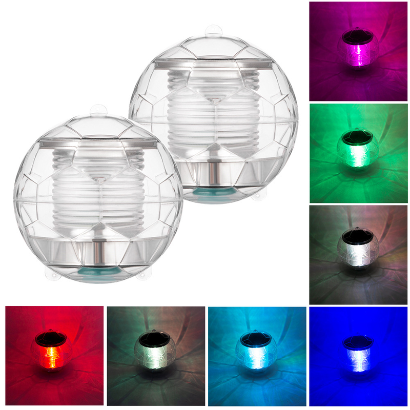New Solar Colorful Water Floating Light Mini Ball Light With Threading Hole Built-in Rechargeable Battery 1*AA  Underwater Lamp