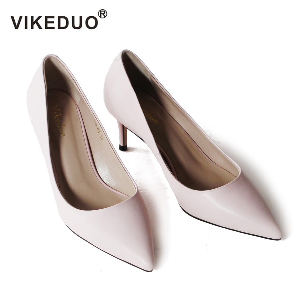 VIKEDUO Ladies Fashion Pumps 2018 Summer Solid High Heel Shoes Women Genuine Leather Wedding Office Work Shoe Handmade Zapatos ladies handmade fashion patent patchwork 100mm wedding evening high heel pumps shoes cke103