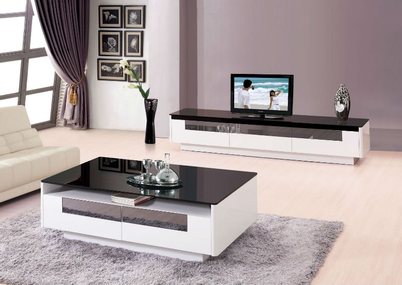 2012 Modern design Glass top living room coffee table set ...