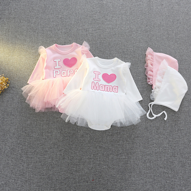 dce42acdd31 Newborn twins Baby clothes 0-3 m girls cotton 6 m 9 m bodysuit   hat baby  shower gift baby girl party wedding Tutu dress outfits