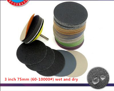 Image 5 - 100pcs/Set 3 Inch Disc Water Sandpaper Wet And Dry 60# 10000# Polishing And Polishing 75mm Back Velvet Flocking Sandpaper-in Abrasive Tools from Tools