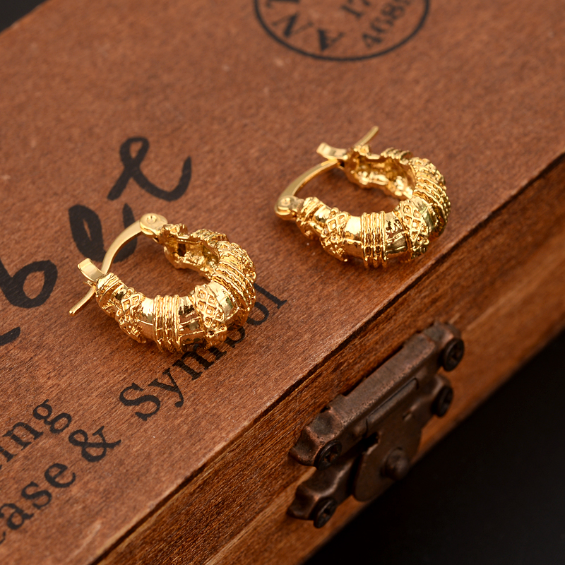 2pairs Gold Hoop Earring For Women S Dubai Jewellery Turkish Egyptian Algeria Indian Moroccan Saudi