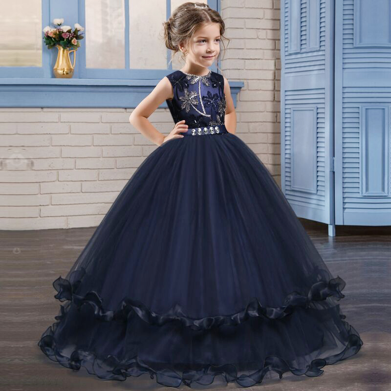 2019 Children Clothing Kids Prom Dress Princess Clothes Vestido First Communion Dresses Flower Girl Dresses Party Clothes LP-76