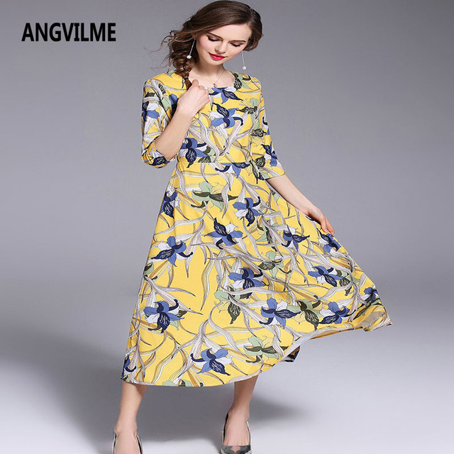 3ca1d47856113 US $38.99 |ANGVILME 2018 New Women Summer Dress Vintage Printed O neck  Yellow Dress Design Half Sleeve Zipper High quality Female Dress -in  Dresses ...