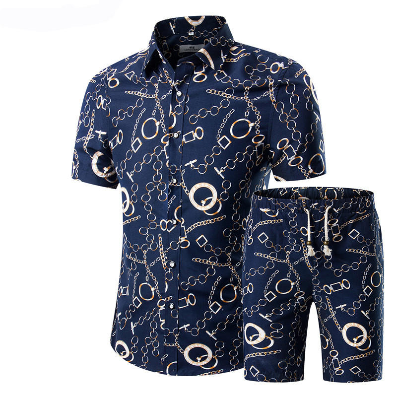 2019 Summer Fashion Floral Print Shirts Men+Shorts Set Men Short Sleeve Shirts Casual Men Clothing Sets Tracksuit Plus Size 5XL