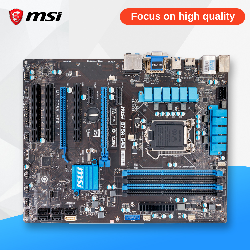 MSI B75A-G43 Original Used Desktop Motherboard B75 Socket LGA 1155 i3 i5 i7 DDR3 32G SATA3 USB3.0 ATX msi ph67a c43 original used desktop motherboard h67 socket lga 1155 i3 i5 i7 ddr3 32g sata3 usb3 0 atx