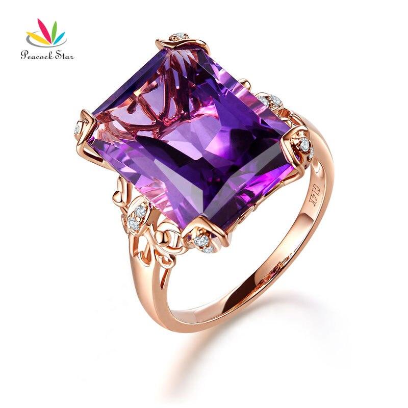 Павлин звезда 14 К розового золота роскошный годовщина свадьбы Ring 10.5 ct Фиолетовый аметист бриллиант