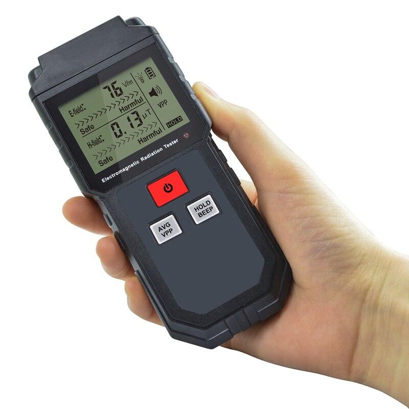 Digital Electromagnetic Radiation Detector Sensor LCD Indicator Data Lock  EMF Meter Electric Magnetic Field Frequency Tester