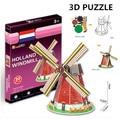 3d puzzle cubicfun arquitetura mundialmente famoso edifício montagem modelo de papelão holland moinho de vento de brinquedo diy brinquedos para as crianças