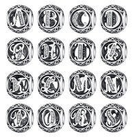 Authentic 925 Sterling Silver Vintage A To T Clear CZ Letter Charms Fit Pandora Bracelets Bangles