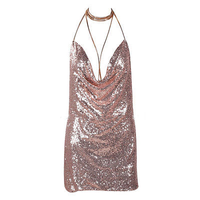 <font><b>Women</b></font> Bling Bling <font><b>Sexy</b></font> Deep V Backless <font><b>Dress</b></font> Bandage Bodycon Halter Sleevelss Party Clubwear Cocktail Pencil <font><b>Mini</b></font> <font><b>Dress</b></font> image