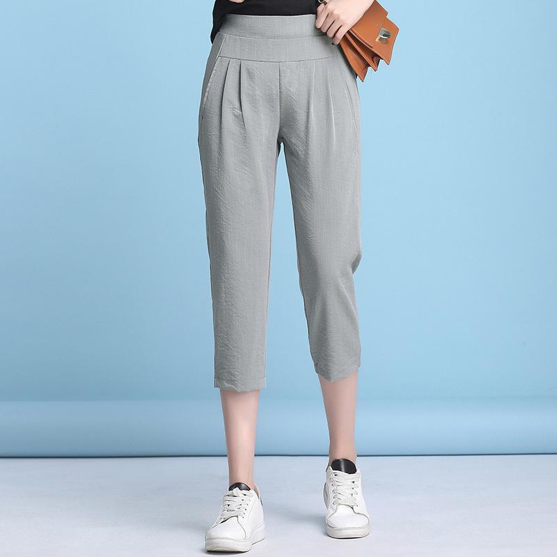 Elastic Waist Women Harem   Pants   2019 Summer   Capri   Trousers Grey Pink Black Pencil   Pants   Plus Size Thin Harem Trousers Femme   Pant