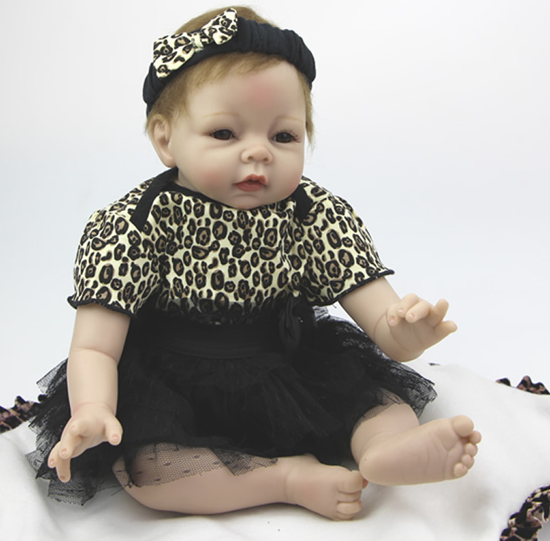 Lifesize Soft Silicone Baby Boy Doll 22 inch Realistic Reborn Baby Doll Handmade Baby Alive Doll DIY Present