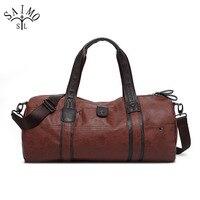 Men Travel Bag Retro PU Leather Men S Tote Fashion Large Capacity Portable Shoulder Bags Carry