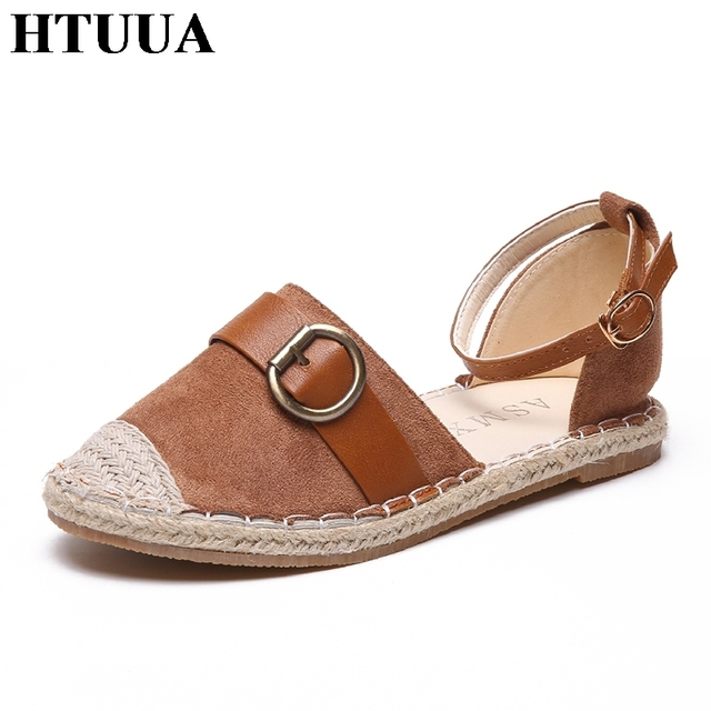 06htuua Sandals Sx1305 Sandalias Ankle Ladies Espadrilles Flat Shoes Summer In Mujer Low Plataforma Buckle Rome Strap Flock Sandale Solid Us29 mO8nvNw0