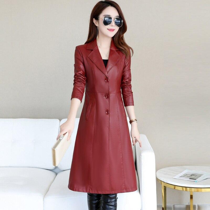 Long Leather Jacket Women Winter Autumn 2019 Elegant Slim Ladies Washed PU Leather Trench Coats Female Outerwear Plus Size 5XL