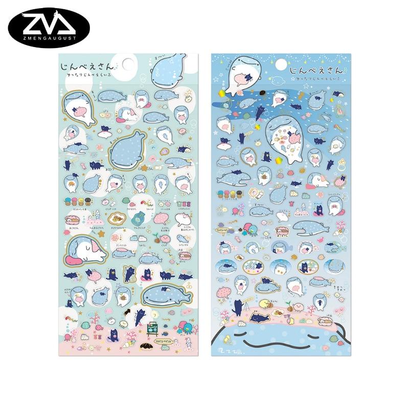 все цены на 1X Cute Creative Blue whale sticker child diy toy Photo album Deco sticker scrapbooking seal sticker kawaii stationery в интернете