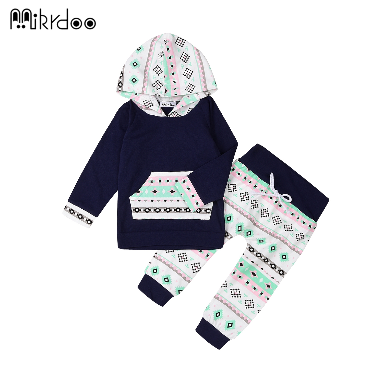 HOT SALE baby boy clothing set fashion geometry cotton long-sleeved hooded T-shirt+ trousers 2pcs newborn baby boy clothes set