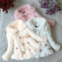 2018 ילדי תינוק בגדי בנות פו הפרווה גיזת חורף מעיל חם מעיל מסיבת חג המולד הילדה ילד בגדי ילדי חליפת שלג