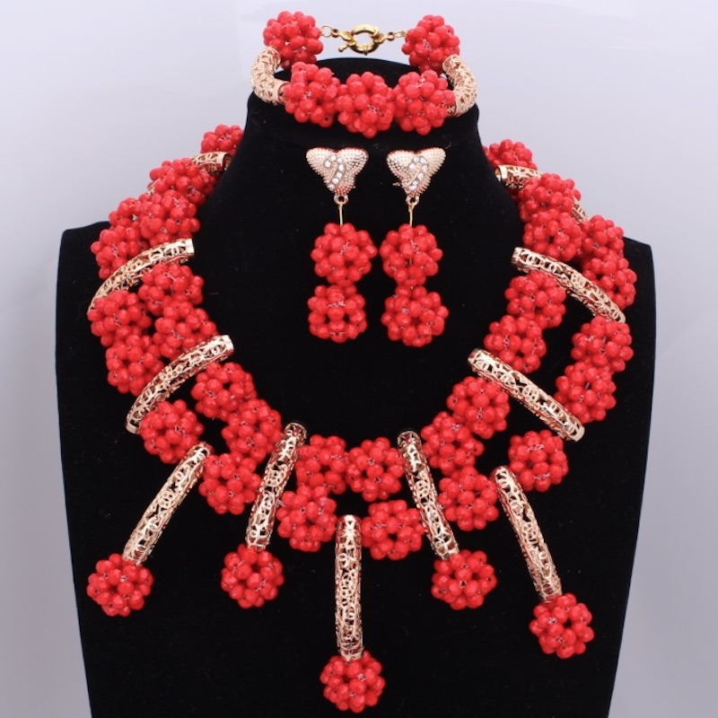 Fashionable Red African Wedding Balls Beads Jewelry Sets Nigerian Necklace Crystal Fashion Jewelry Sets & More New