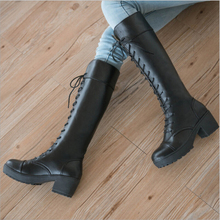 Free Shipping 2016 New Spring Autumn British Style PU Leather Longituba Boots Women's Thick With lace Up Handsome Knight Boots