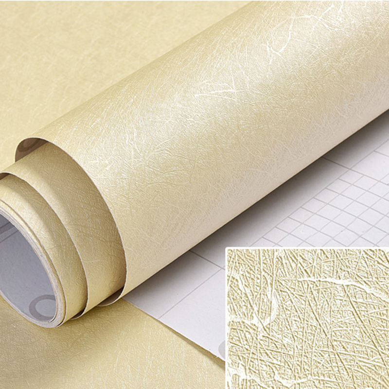 Thicken PVC Solid Color Wallpaper Self-adhesive Waterproof 10m Bedroom Living Room Dormitory Silver Beige Modern Wallpaper Roll 5m 10m roll mosaic self adhesive wallpaper peel