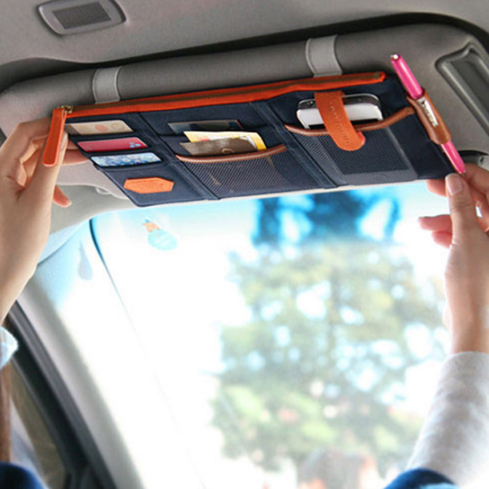 Stowing Tidying Car Sun Visor Storage Pouch Sunshade Cover Organizer Multi Function Phone Holder Parking Card Holder Car Stylnig