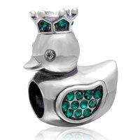 Fit Pandora Bracelets zircon couronne canard Charms authentique 925 perles en argent massif bricolage fabrication de bijoux