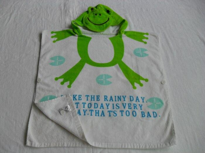 Розничная ; детское банное полотенце с капюшоном с принтом животных; купальный халат для младенцев; модельный детский банный Халат - Цвет: green frog